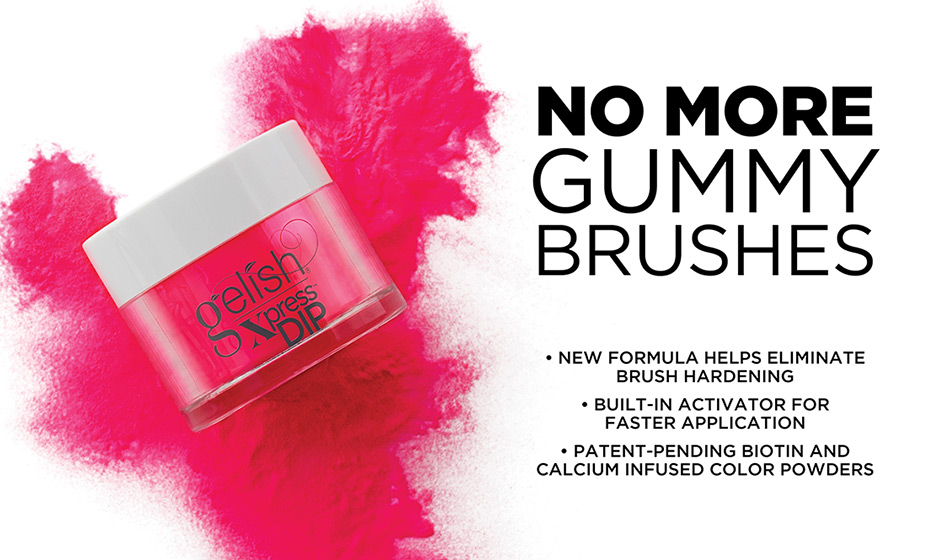 No More Gummy Brushes. New formula helps eliminate brush hardening. Built-in activator for faster application. Patent-pending biotin and calcium infused color powders.