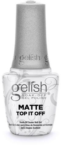 Matte Top It Off Soak-Off Sealer Gel - Seals Gelish Soak-Off Gel Polish to a matte, satin finish that will not chip or peel. Removes with Artificial Nail Remover. Cures 30 second in the 18G LED light.