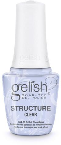 Clear Brush-On Structure Gel - Reinforces strength, enhances nail, or repairs damaged nail plate. Remove with Artificial Nail Remover. Cures for 30 seconds in the 18G LED light.