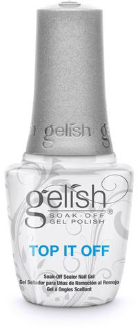 Top It Off Soak-Off Sealer Gel - Seals Gelish Soak-Off Gel Polish to a high shine finish that will not dull, chip or peel. Removes with Artificial Nail Remover. Cures 30 second in the 18G LED light.